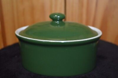 Vintage/Antique Coors Thermo Porcelain Baking Dish w/ Lid  - Estate - Green