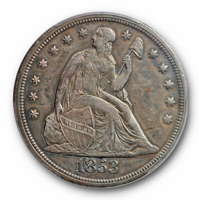1853 $1 Liberty Seated Dollar PCGS XF 45 Extra Fine to AU Key Date