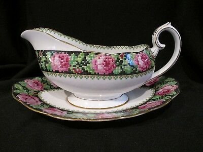 Royal Albert - NEEDLE POINT - Gravy Boat and Stand