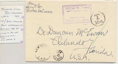 Tristan Da Cunha 1950 Postage Due Cover To Usa +Letter From Rms Caronia,paquebot