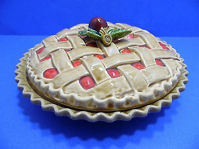 Vintage Cherry Pie Plate Keeper Holder Ceramic Paper Label Made In Japan Recipe