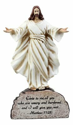 The Shepherd's Call Jesus Christ With Open Arms Statue Above Scripture Verse