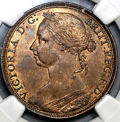 1890 NGC MS 62 Penny Victoria GREAT BRITAIN Coin (17050802C)