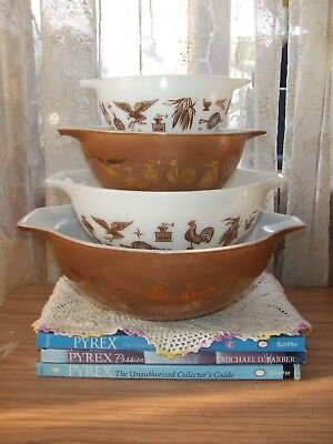 vntg Pyrex 1960's Early American Cinderella bowl set 441 442 443 444 VGUC