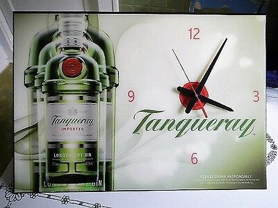 RARE Advertising Tanqueray London Dry Gin Large Wall Sign Clock Wood Board