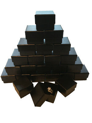 Wholesale Black Ring Gift Box with Foam and Velvet Insert 1.5 x 1.5 x 1.25 Inch