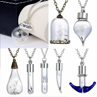Handmade Silver Real Dandelion Seeds In Glass Wish Bottle Chain Necklace Pendant