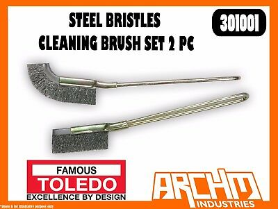 Toledo 301001 - Steel Bristles Cleaning Brush Set 2 Pc - Rust Scale Dirt Removal
