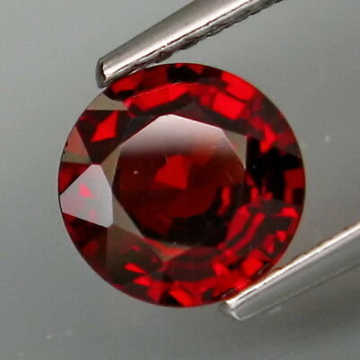 1.71Ct.Outstanding Color! Natural Red Spessartite Garnet Round 7.2mm.Eye Clean