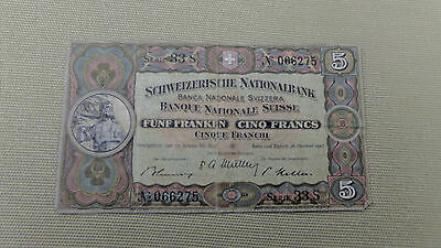 1947 Rare  Swiss Five Franc Banknote......   Fairly Good Grade.. Sought After...