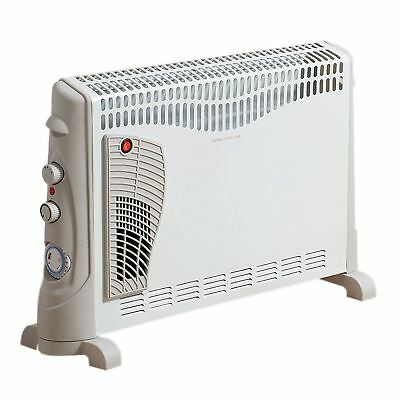 2000W Electric Turbo Convector Heater Portable Free Standing Thermostat & Timer