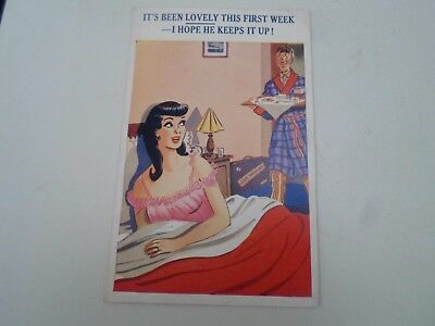 Risque Vintage Postcard JUST MARRIED HUMOUR - Breakfast In Bed  §A46