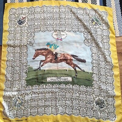 Margetson HORSE RACING SILK SCARF 1953 DERBY WINNER - PINZA - Collectable