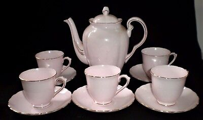 Vintage  Tuscan Pink Coffee Pot & 5 X Demitasse Cups & Saucers - Pretty (S)