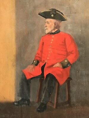 Fine Quality 1960's British Oil Painting - Portrait Of A Chelsea Pensioner