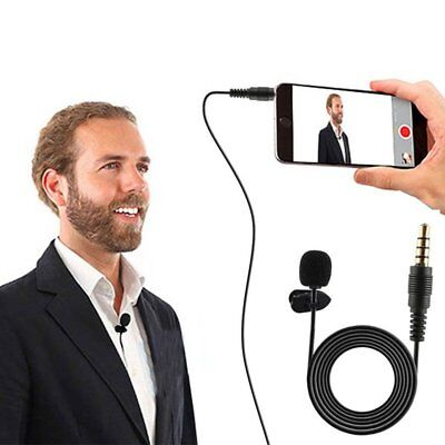 3.5mm Clip On Lavalier Tie Lapel  Microphone Hands Free Wired Condenser Mini Mic
