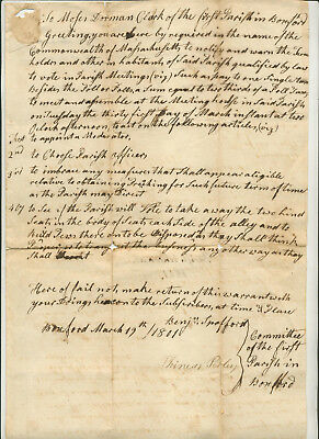 1801 Legal Document From Committee For First Parish In Boxford Massachusetts