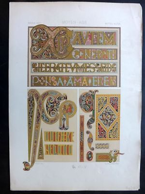 Racinet L'Ornament Polychrome 1873 Design Print. Middle Ages 44