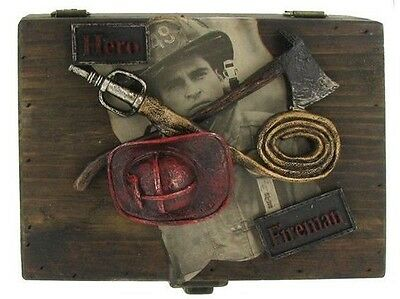 Vintage Firefighter Tools Wooden Box