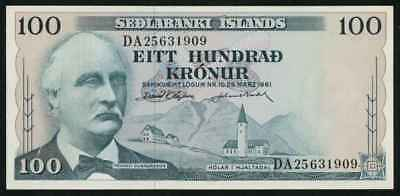 Currency 1961 Central Bank of Iceland One Hundred Kronur Banknote P44a CU