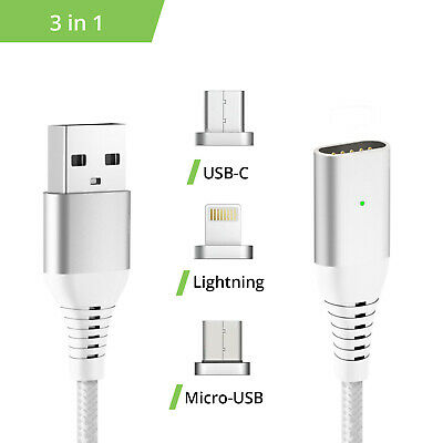 Ladekabel 3in1 Set magnetisch Liamoo® - USB C / Lightning / Micro USB in silber