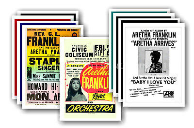 ARETHA FRANKLIN  - 10 promotional posters - collectable postcard set # 1