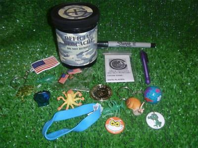 Nice Geocache Tub Complete with Swag, Log, & Pens