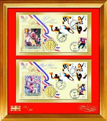 1996 Olympic Covers - Signed by Mary Peters and Daley Thompson - Framed