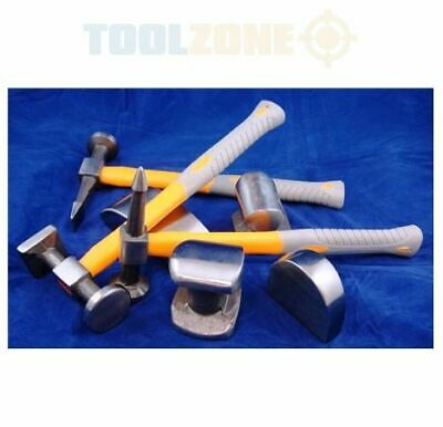 Toolzone 7 Piece Fibre Handle Body Repair Kit Dent Panel Beating Hammer Dolly