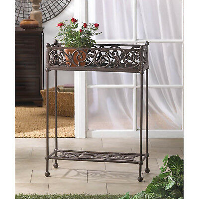 PLANT STAND: Cast Iron Two-Tier Rectangular Potted Plant Holder NEW
