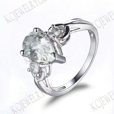 Pear Cut White Topaz Cubic Zirconia Engagement Unique 925 Sterling Sliver Ring