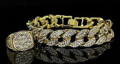 Mens 2pc Bracelet Ring Set Miami Cuban Link Iced Out 14k Gold Plated Hip Hop