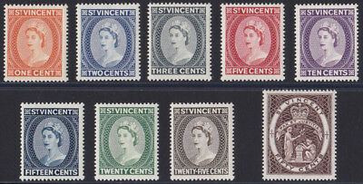 1964-65 St. Vincent mounted mint set of stamps x 9 SG 212-220 Cat. £11.00