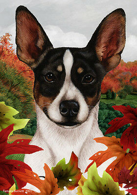 Large Indoor/Outdoor Fall Flag - Tri Rat Terrier 13324