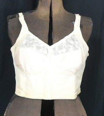 long line bra 1950 never worn peach lace bones sz 40 B vintage original