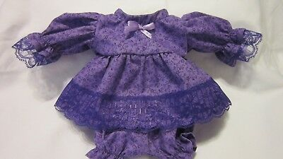 """Purple Floral Print Dress/bloomers, fits 10"""" Lots to Love Berenguer babies"""
