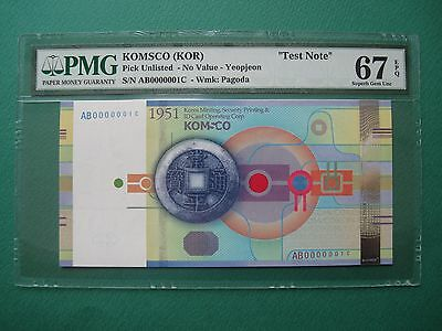 "2011 S.korea ""test Note"" Nongak Yeopjeon Komsco Pmg 67Epq Gem Unc ""finest Known"""