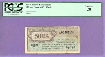 Series 461 RARE 50¢ MPC REPLACEMENT NOTE PCGS Very Fine 20 A00664133