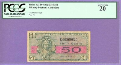 Series 521 RARE 50¢ MPC REPLACEMENT NOTE PCGS Very Fine 20 E00560625