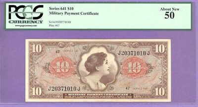Series 641 $10 Military Payment Certificate (MPC) PCGS 50 About New J20371010J