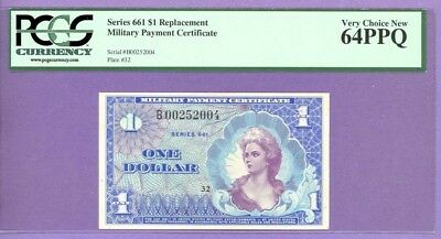Series 661 RARE $1 REPLACEMENT NOTE (MPC) PCGS 64 PPQ VERY CHOICE NEW B00252004