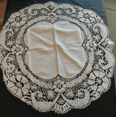 "Antique Linen 34""Tablecloth Topper Cluny Bobbin Lace White  Gorgeous (#23)"