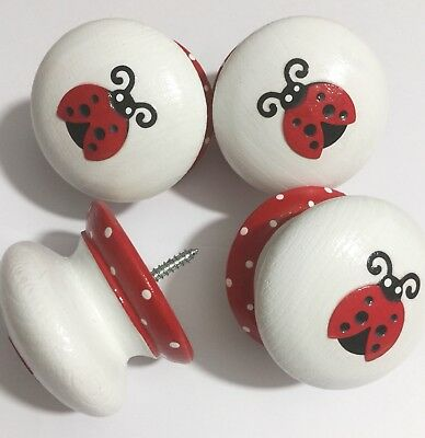 "Handpainted & Decoupaged Large 2"" White & Red Ladybug Ladybird Drawer Knobs x 4"