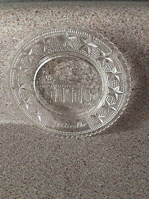 "Vintage Clear Glass Small 3.5"" Plate Jefferson's Monticello Etched Historical"