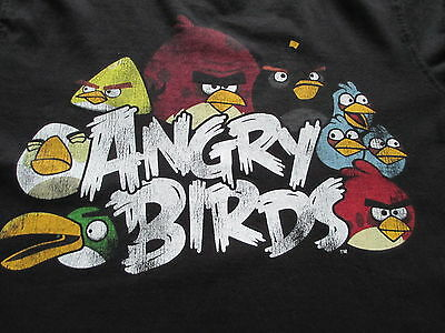 Angry Birds Black Red Blue Green White T-Shirt Size M Medium L Large