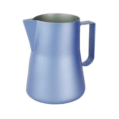 Frothing Pitcher For Coffee Latte Cappuccino Coffee Art Stencils Blue