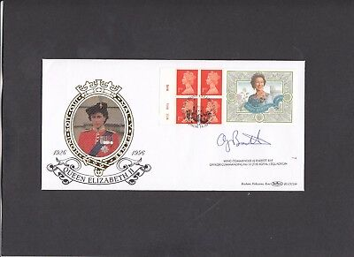 1996 Queen 70th Birthday booklet pane Benham FDC signed by Wing Cdr A.J.Barrett