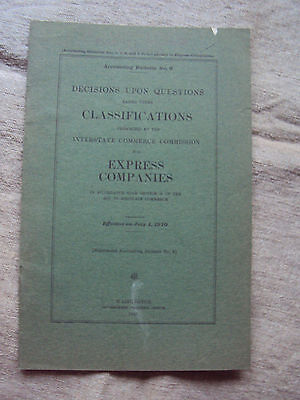 1910  Classification for Express Companies