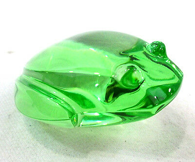 Frog Val St Lambert Paperweight Green Lead Crystal Made in Belgium Toad Figurine