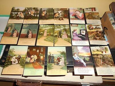 5 Sets Of Early Ww1 Era Bamforth Songcard Postcards (L)